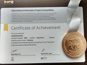 """Azərbaycan Rumıniyada keçirilən """"İnfomatrix"""" beynəlxalq yarışmasında """"Qızıl medal"""" qazandı"""